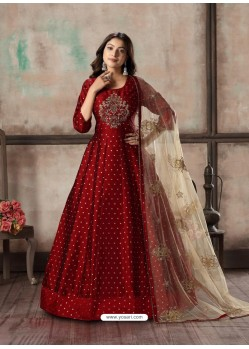 Maroon Readymade Designer Party Wear Anarkali Suit