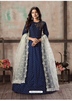 Navy Blue Readymade Designer Party Wear Anarkali Suit