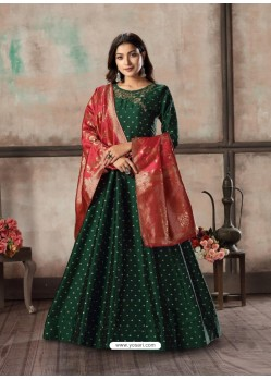 Dark Green Readymade Designer Party Wear Anarkali Suit