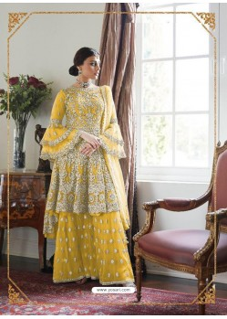 Yellow Latest Heavy Embroidered Wedding Sharara Suit