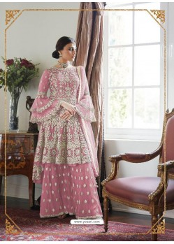 Pink Latest Heavy Embroidered Wedding Sharara Suit