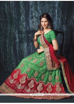 Precious Net Embroidered Work A Line Lehenga Choli