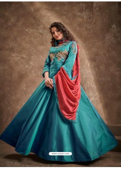 Teal Blue Readymade Designer Party Wear Gown Style Anarkali Suit