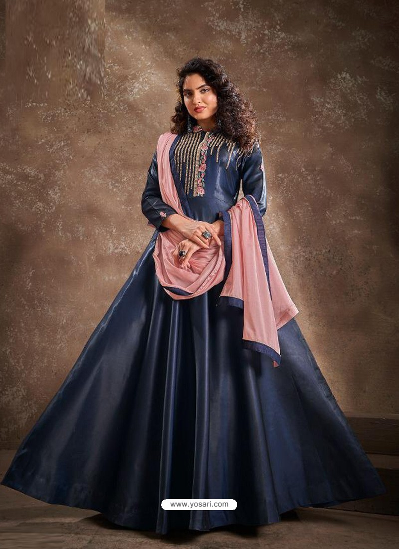 Navy Blue Readymade Designer Party Wear Gown Style Anarkali Suit