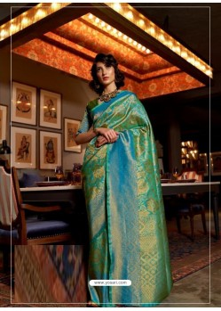Aqua Mint Latest Designer Party Wear Soft Silk Sari