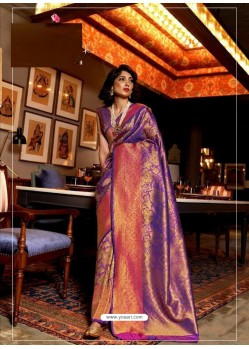 Violet Latest Designer Party Wear Soft Silk Sari