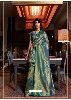 Blue Latest Designer Party Wear Soft Silk Sari