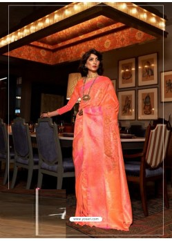 Orange Latest Designer Party Wear Soft Silk Sari