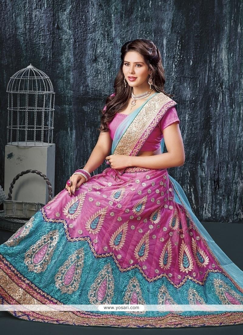 Floral Net Pink A Line Lehenga Choli