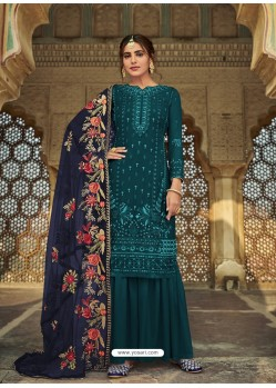Teal Latest Designer Party Wear Faux Georgette Sharara Suit