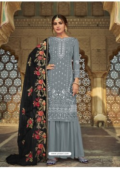 Grey Latest Designer Party Wear Faux Georgette Sharara Suit