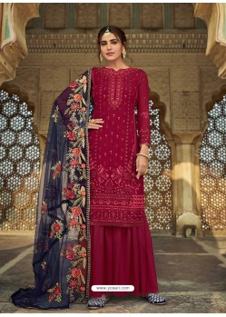 Maroon Latest Designer Party Wear Faux Georgette Sharara Suit