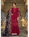 Maroon Latest Designer Party Wear Faux Georgette Sharara Suit