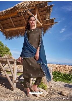 Coffee Latest Heavy Designer Party Wear Straight Salwar Suit