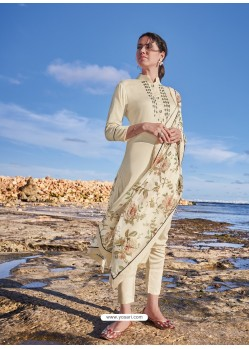 Off White Latest Heavy Designer Party Wear Straight Salwar Suit