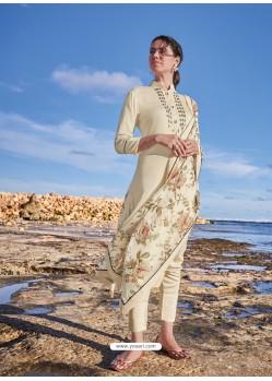 Off White Latest Heavy Designer Party Wear Straight Salwar Suit