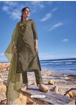 Mehendi Latest Heavy Designer Party Wear Straight Salwar Suit