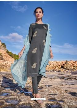 Dark Grey Latest Heavy Designer Party Wear Straight Salwar Suit