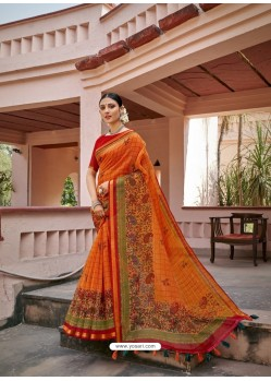 Orange Designer Casual Wear Printed Cotton Sari