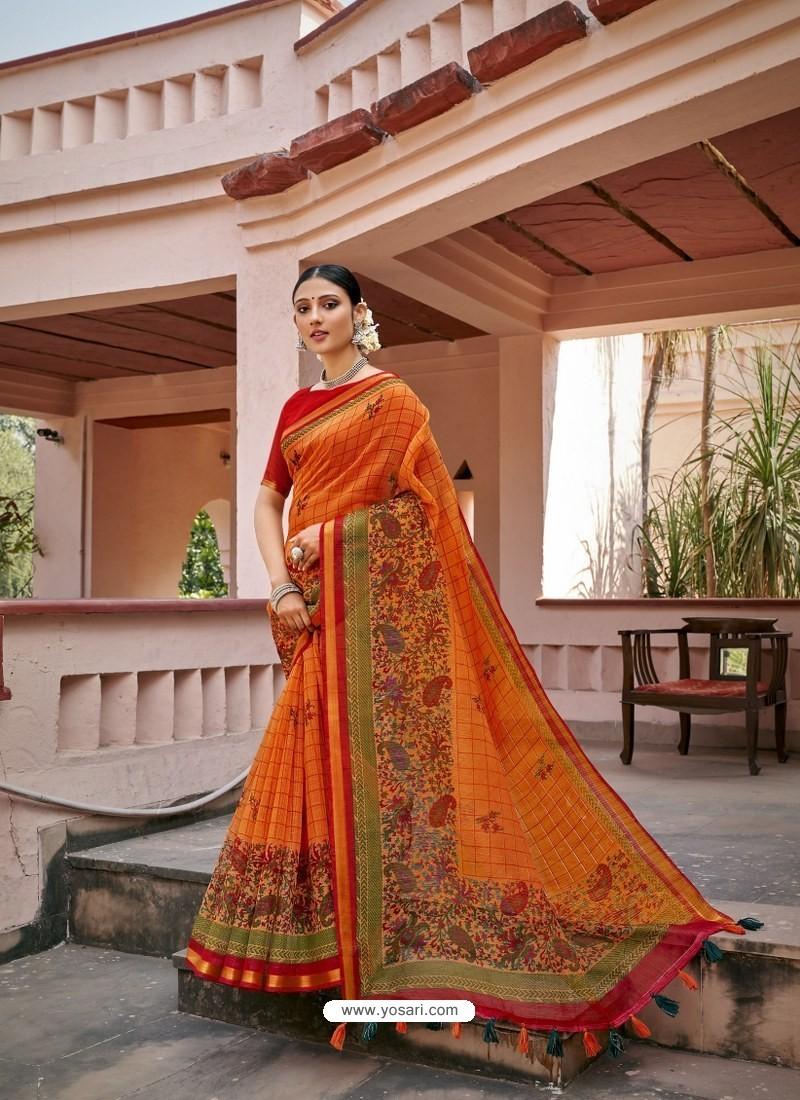 Orange Designer Casual Wear Printed Cotton Sari