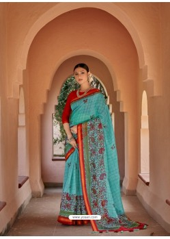 Sky Blue Designer Casual Wear Printed Cotton Sari