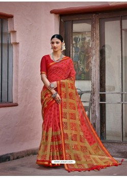 Dark Peach Designer Casual Wear Printed Cotton Sari