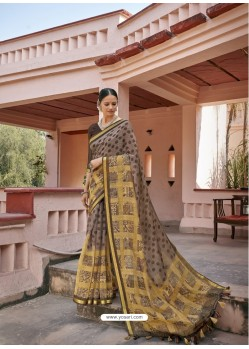Taupe Designer Casual Wear Printed Cotton Sari