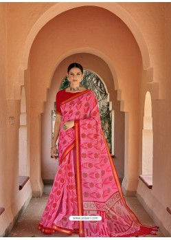 Fuchsia Designer Casual Wear Printed Cotton Sari