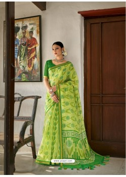 Green Designer Casual Wear Printed Cotton Sari