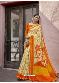 Cream Designer Casual Wear Printed Cotton Sari