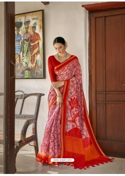 Pink Designer Casual Wear Printed Cotton Sari