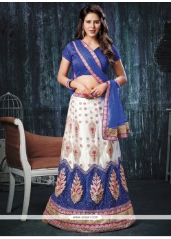 Distinctive Blue And White Net A Line Lehenga Choli