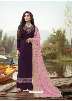 Purple Latest Designer Party Wear Rangoli Georgette Palazzo Suit