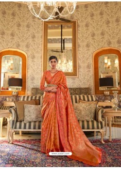 Orange Latest Designer Party Wear Tussar Silk Sari