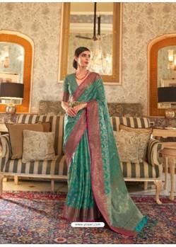 Teal Latest Designer Party Wear Tussar Silk Sari
