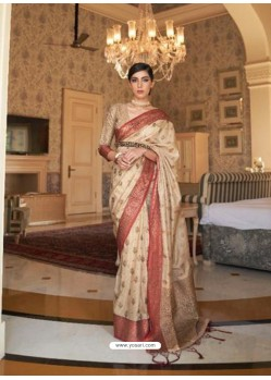 Cream Latest Designer Party Wear Tussar Silk Sari