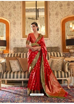 Red Latest Designer Party Wear Tussar Silk Sari
