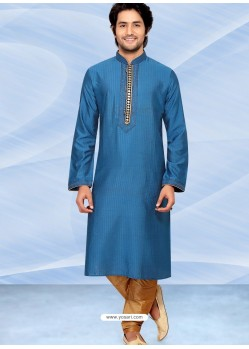 Blue Readymade Designer Party Wear Kurta Pajama For Men