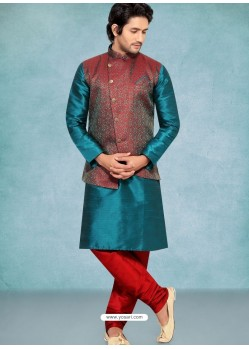 Teal Blue Readymade Designer Party Wear Kurta Pajama With Jacket