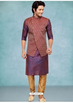 Purple Readymade Designer Party Wear Kurta Pajama With Jacket