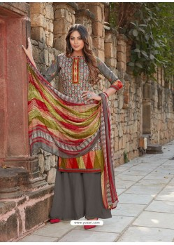 Grey Latest Designer Party Wear Cambric Cotton Palazzo Suit