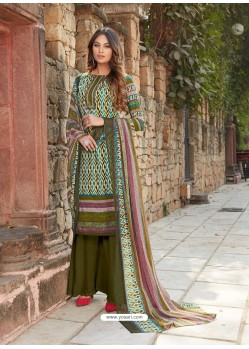 Mehendi Latest Designer Party Wear Cambric Cotton Palazzo Suit