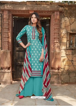 Sky Blue Latest Designer Party Wear Cambric Cotton Palazzo Suit