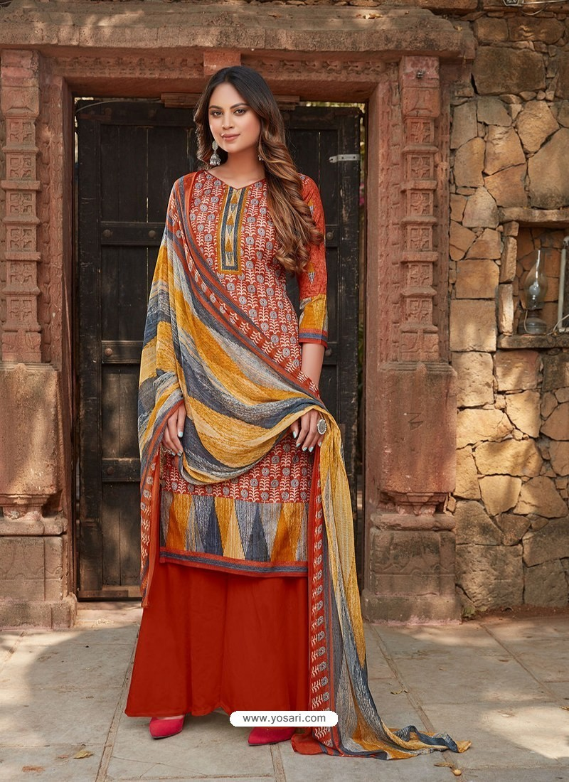 Red Latest Designer Party Wear Cambric Cotton Palazzo Suit