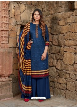 Dark Blue Latest Designer Party Wear Cambric Cotton Palazzo Suit