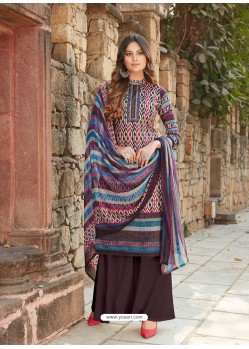 Multi Colour Latest Designer Party Wear Cambric Cotton Palazzo Suit
