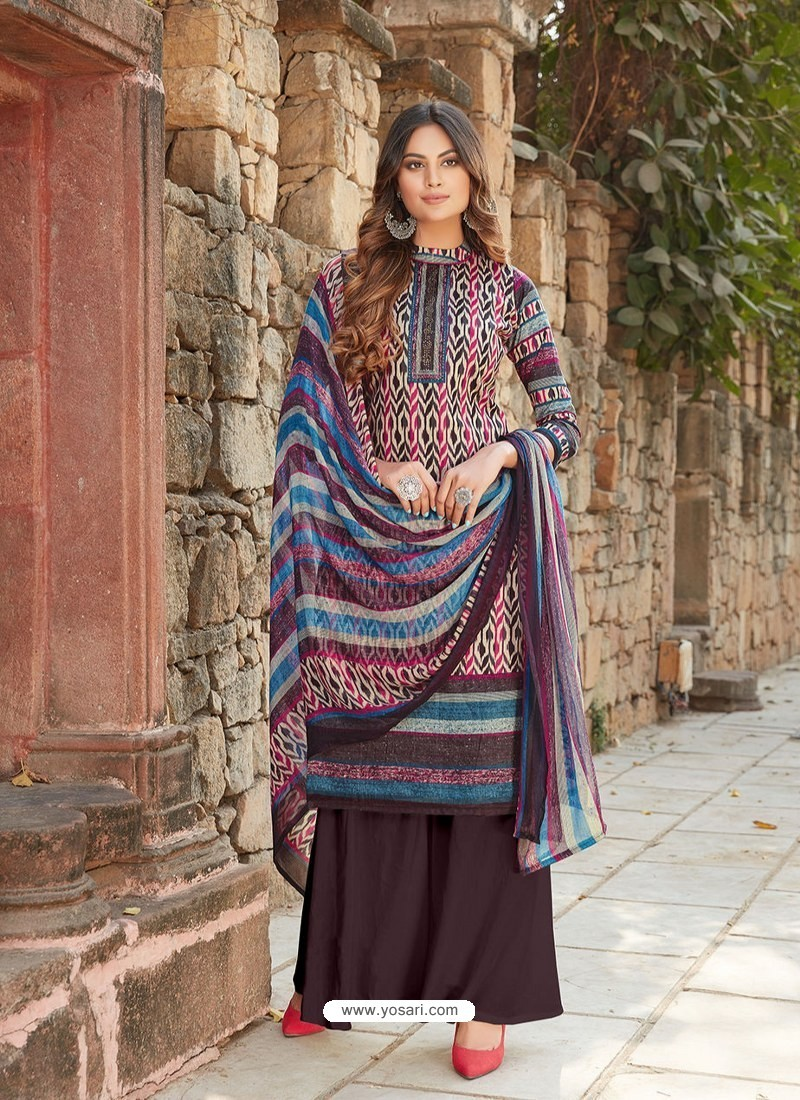 Multi Colour Latest Designer Party Wear Cambric Cotton Palazzo Suit