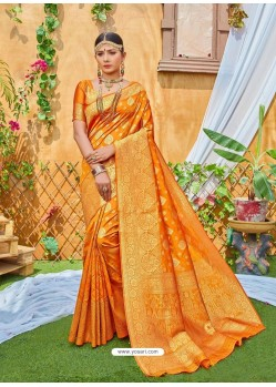 Mustard Latest Designer Classic Wear Zari Silk Sari