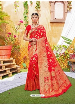 Red Latest Designer Classic Wear Zari Silk Sari