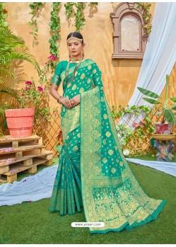Aqua Mint Latest Designer Classic Wear Zari Silk Sari